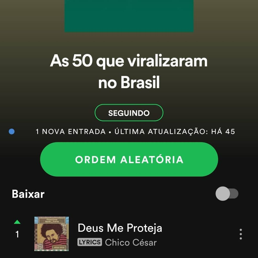 """""""Deus Me Proteja"""" alcança o topo da parada viral do Spotify"""